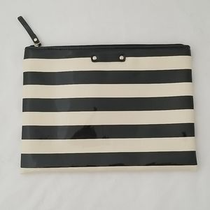 Kate Spade black and white stripes cosmetics pouch